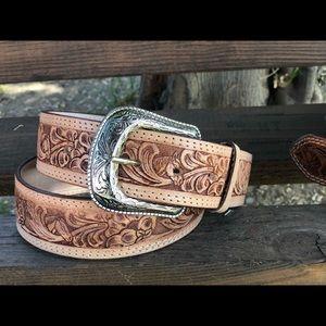 Leather belt unisex leather